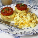 Scramble Eggs with Corn served with Potato Cakes