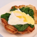 Toasted Croissant topped with Spinach Leaves
