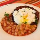 Vegetable Patty with Poached Egg & Baked Beans