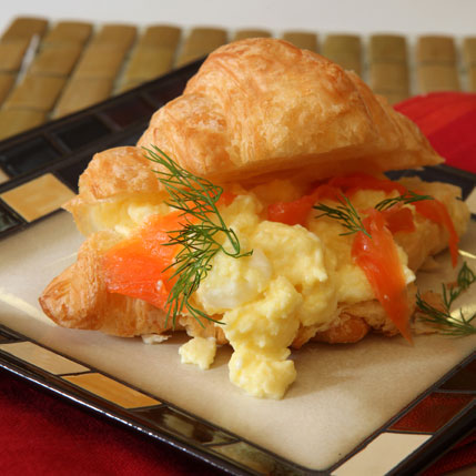 Croissant With Scramble Egg And Salmon Heidel Eggs