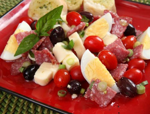 Salami, Eggs, Olives & Tomato Salad